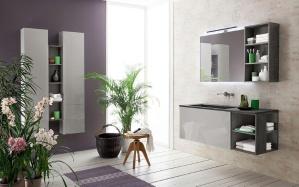 mobile lavabo doppio / da appoggio / sospeso / in melamminico
