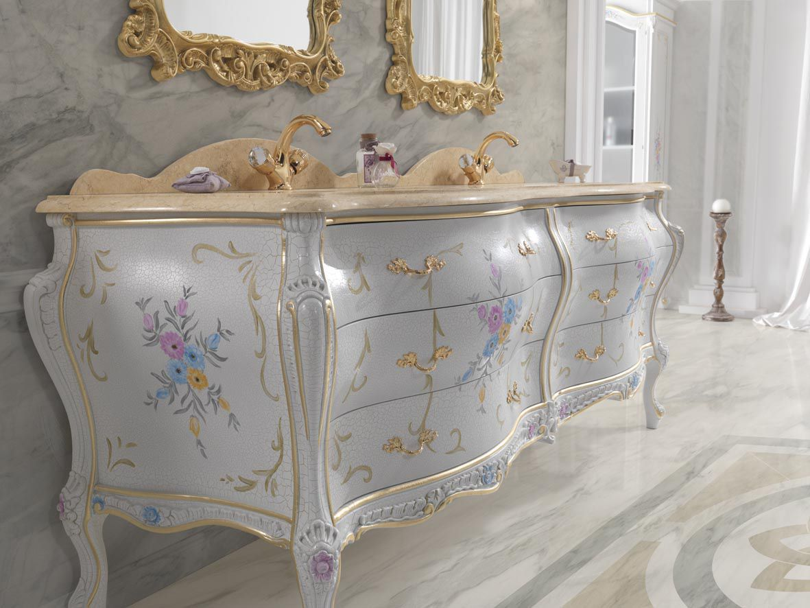 Bagno in stile barocco in legno massiccio luxury finitura
