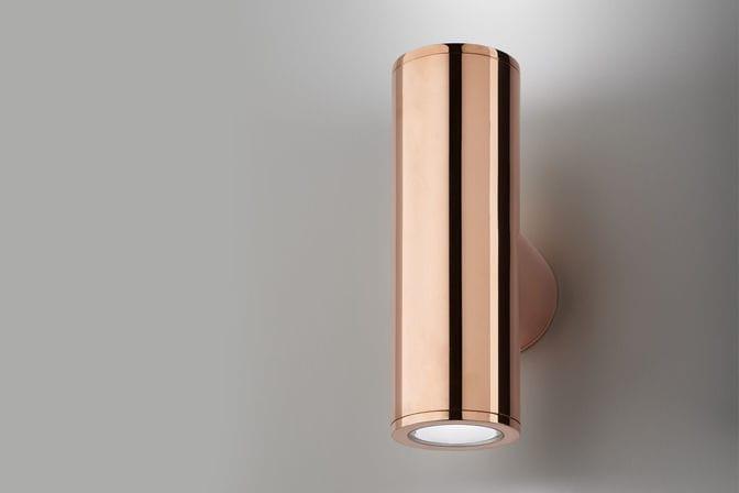 Plafoniera Ottone Esterno : Applique moderna da esterno in alluminio ottone up
