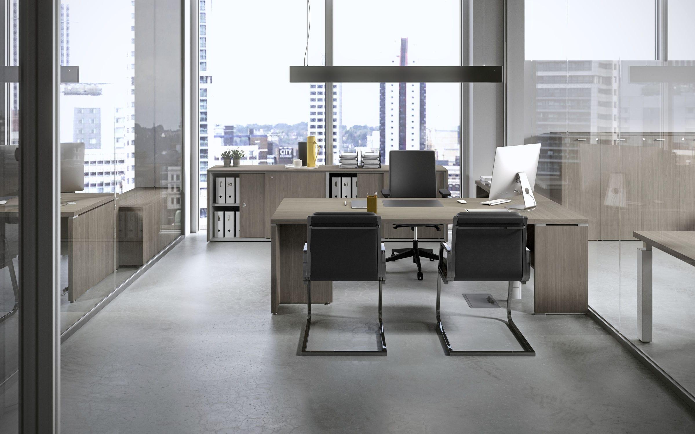 Scrivania Ufficio In Metallo : Scrivania in legno in metallo in melamminico moderna kamos