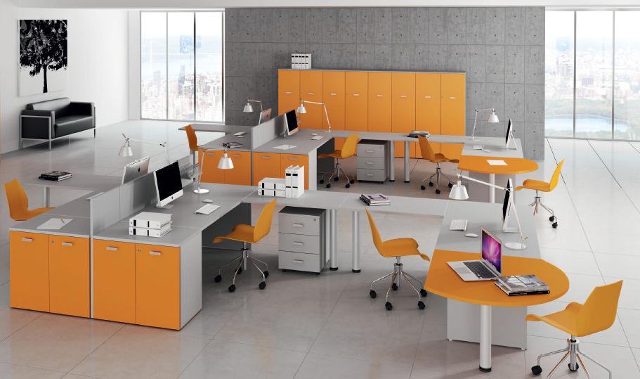 Scrivania Per Ufficio : Scrivania per open space in legno moderna contract kamos
