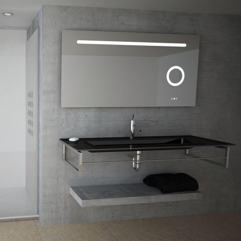Specchio da bagno a muro luminoso a led moderno rettangolare