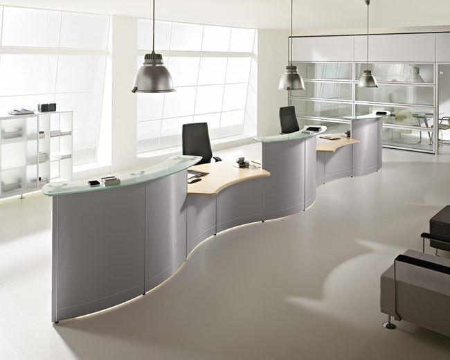 Reception Ufficio Legno : Banco reception a semicerchio modulare in legno in alluminio
