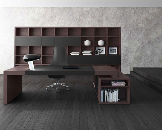 Scrivania Ufficio Design : Scrivania direzionale in legno moderna contract cube