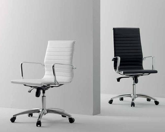 Sedie Da Ufficio In Pelle : Poltrona da ufficio moderna in pelle con rotelle con