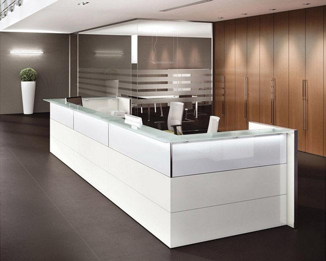 Reception Ufficio Bianco : Banco reception d angolo modulare in laminato kubik