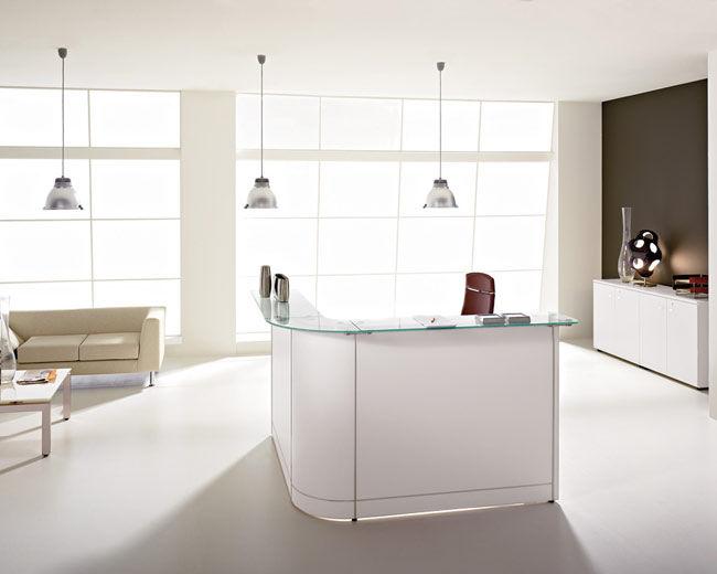Scrivania Reception Ufficio : Banco reception a semicerchio modulare in legno in alluminio