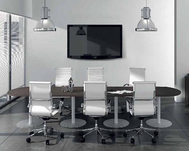 Ufficio Moderno Design : Tavolo da riunione moderno in legno in metallo rettangolare