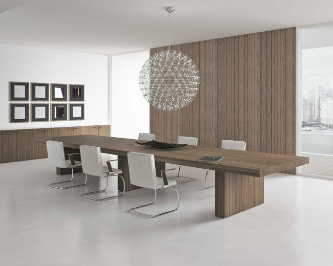 Tavolo da riunione moderno / in legno / rettangolare / per edifici ...