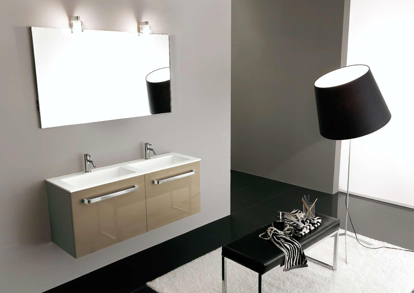 Mobile lavabo doppio / sospeso / in laminato / moderno - I40: 100 ...