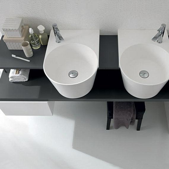 mobile lavabo doppio / sospeso / in legno / moderno - canestro: c ... - Il Bagno Canestro Di Novello