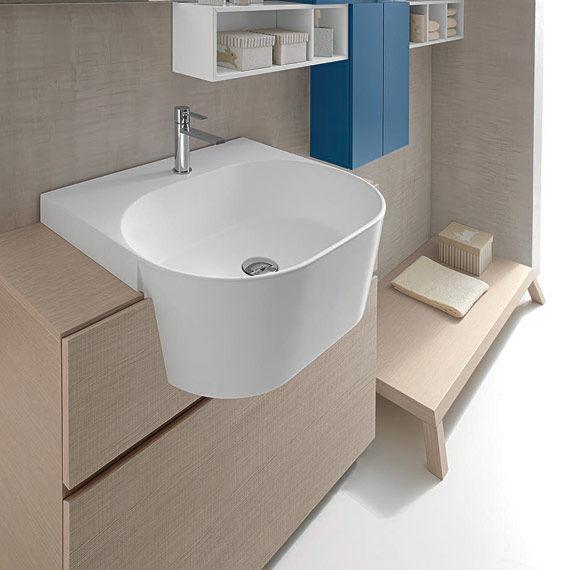 mobile lavabo sospeso / in legno / moderno / con specchio ... - Il Bagno Canestro Di Novello