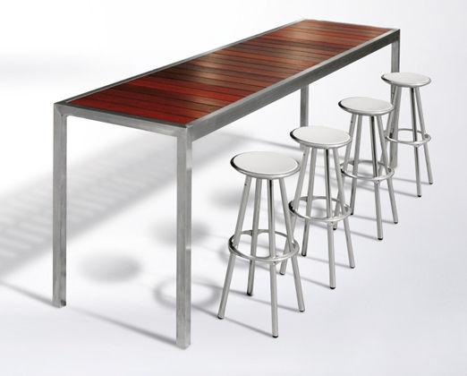 Tavoli Alti Legno : Tavolo alto moderno in legno in acciaio inossidabile