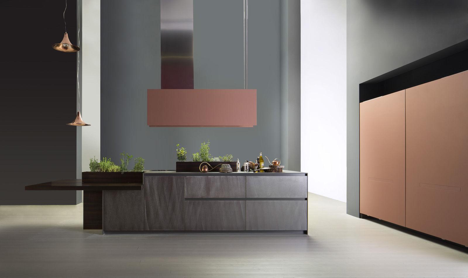 Cucina moderna / in alluminio / in legno / con isola - ALUMINA by ...