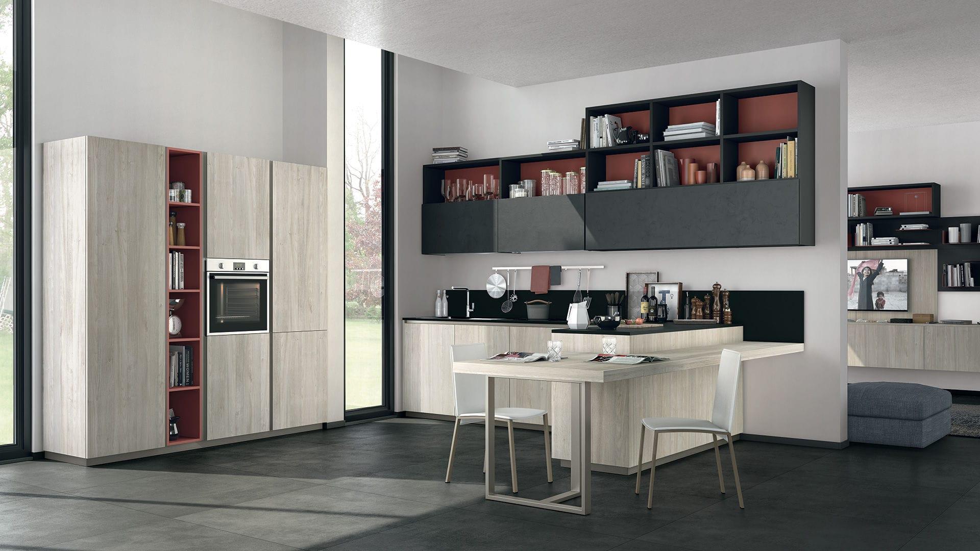 Cucina moderna / impiallacciata in legno / laccata / con impugnature ...