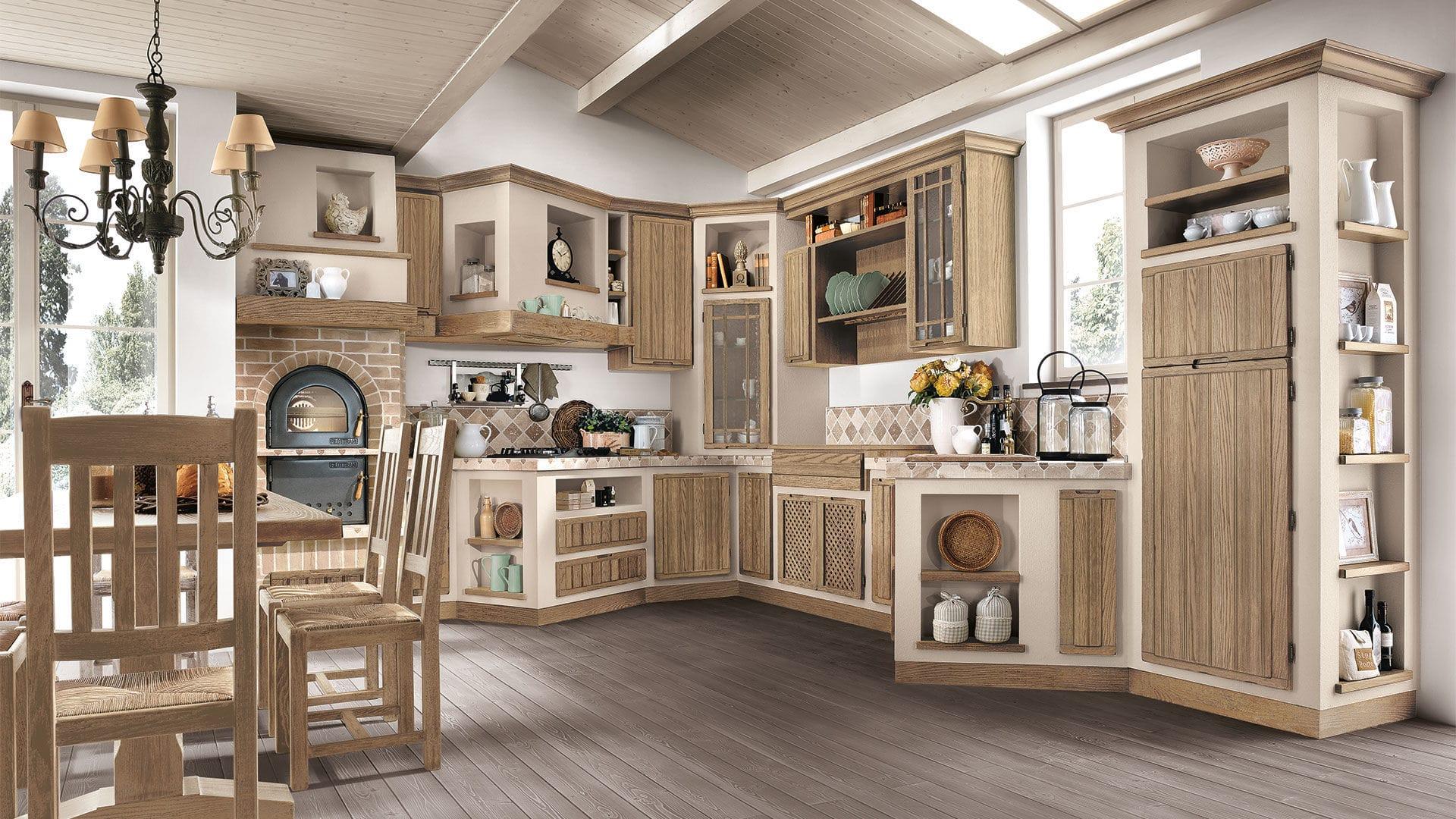 Cucina classica / in frassino / laccata / con maniglia integrata ...