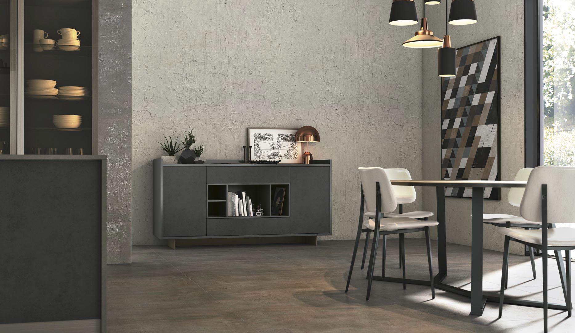 Credenza Con Cucina Incorporata : Credenza moderna in legno con ripiano modulabile clover