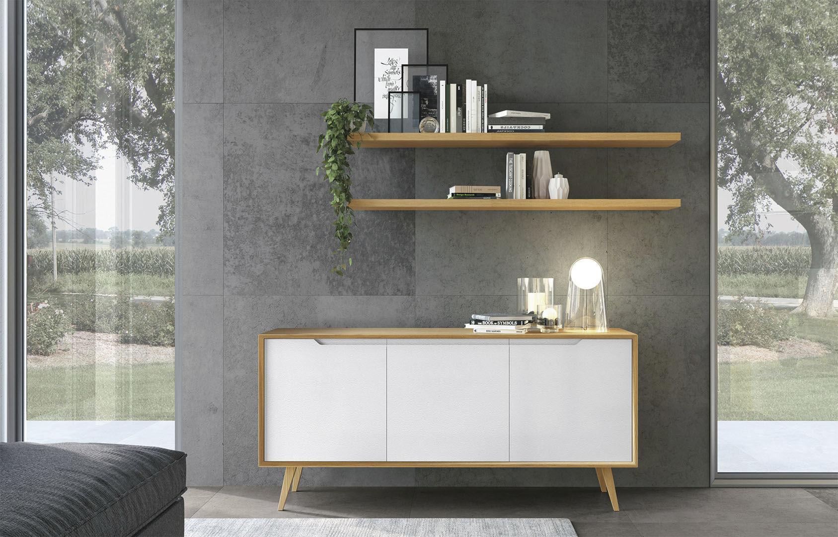 Credenza moderna / in legno / con ripiano / bianca - LUNA - CUCINE LUBE