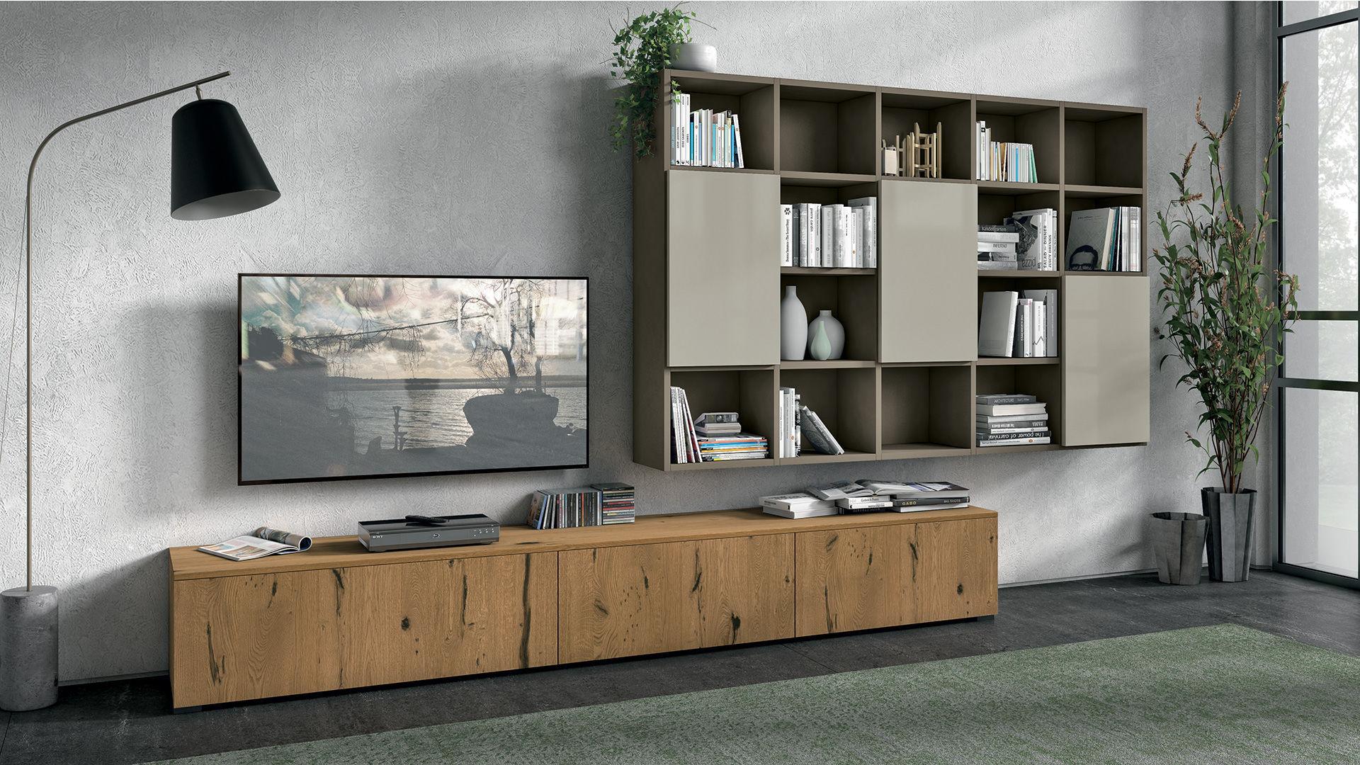 Credenza Con Cucina Incorporata : Parete attrezzata tv moderno in legno con illuminazione