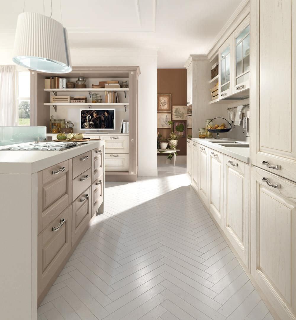 Cucina classica / in legno / con isola / con impugnature - LAURA ...