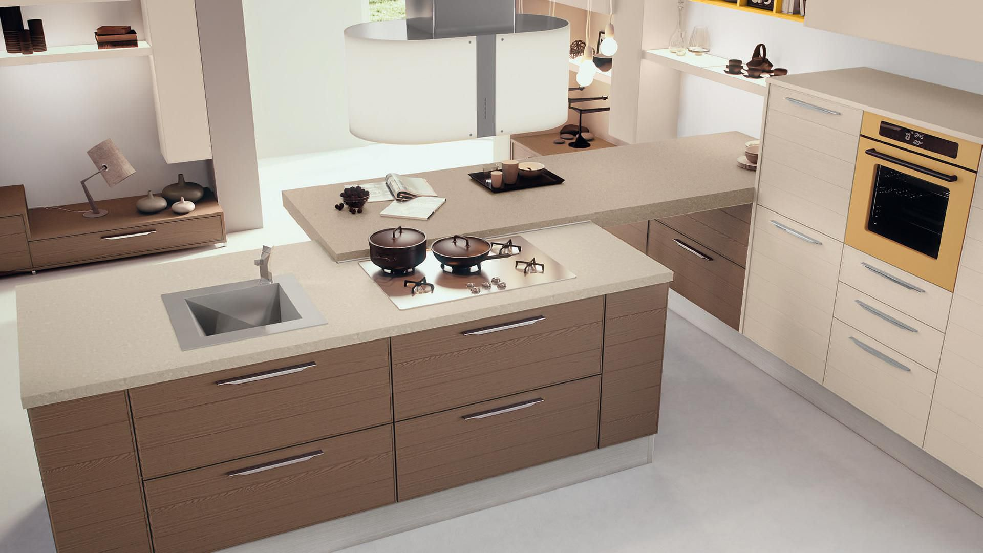 Cucina moderna / impiallacciata in legno / con isola - ADELE ...