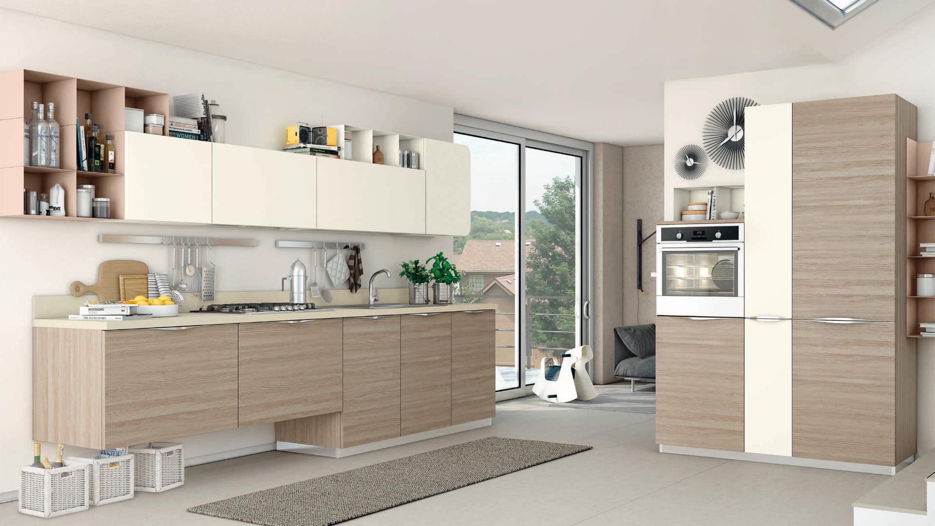 cucina moderna impiallacciata in legno immagina