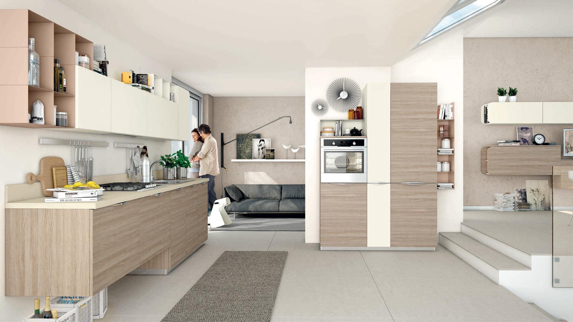 Cucina moderna / impiallacciata in legno / con impugnature ...