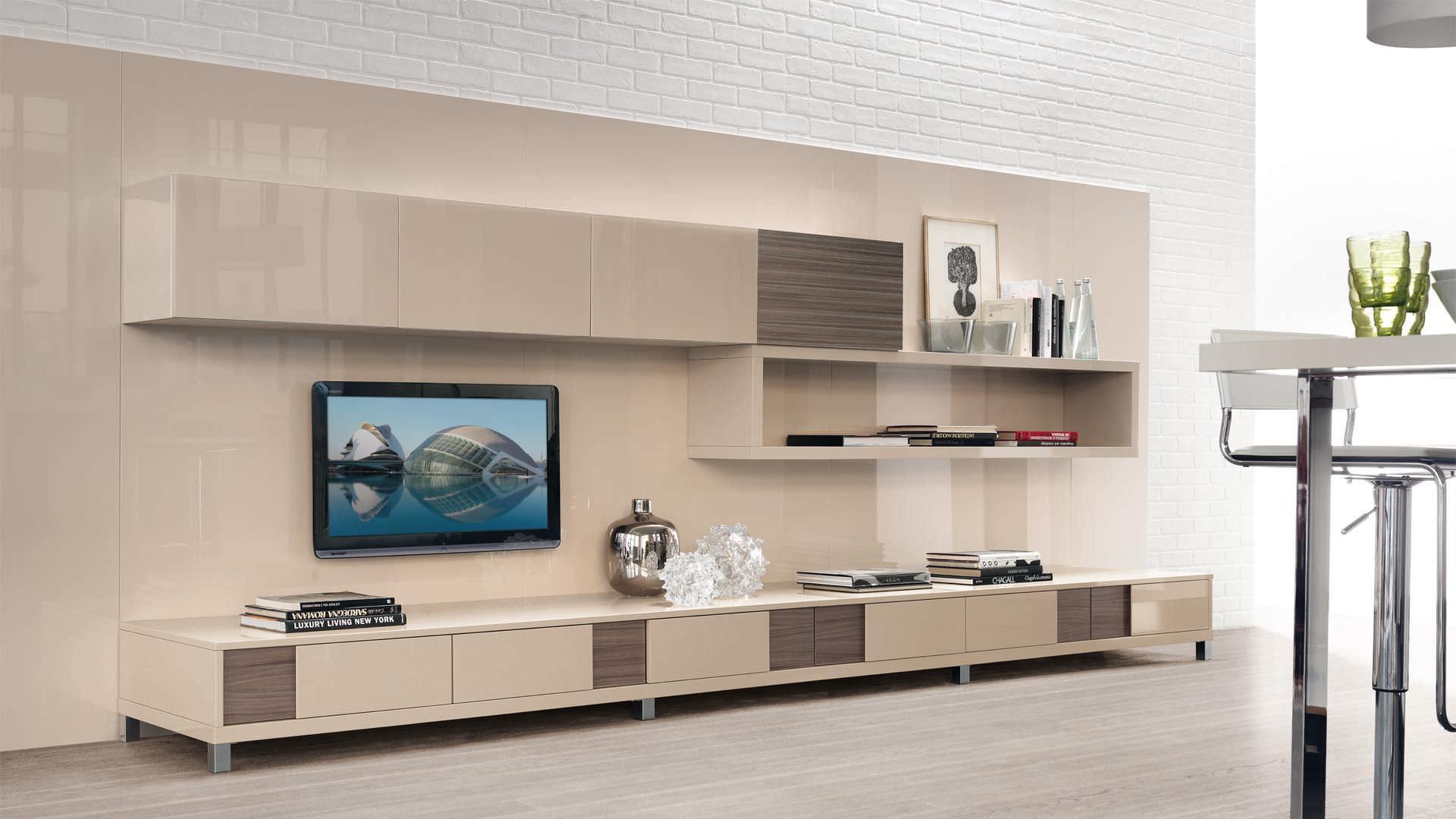 Parete attrezzata tv moderno in legno in legno laccato