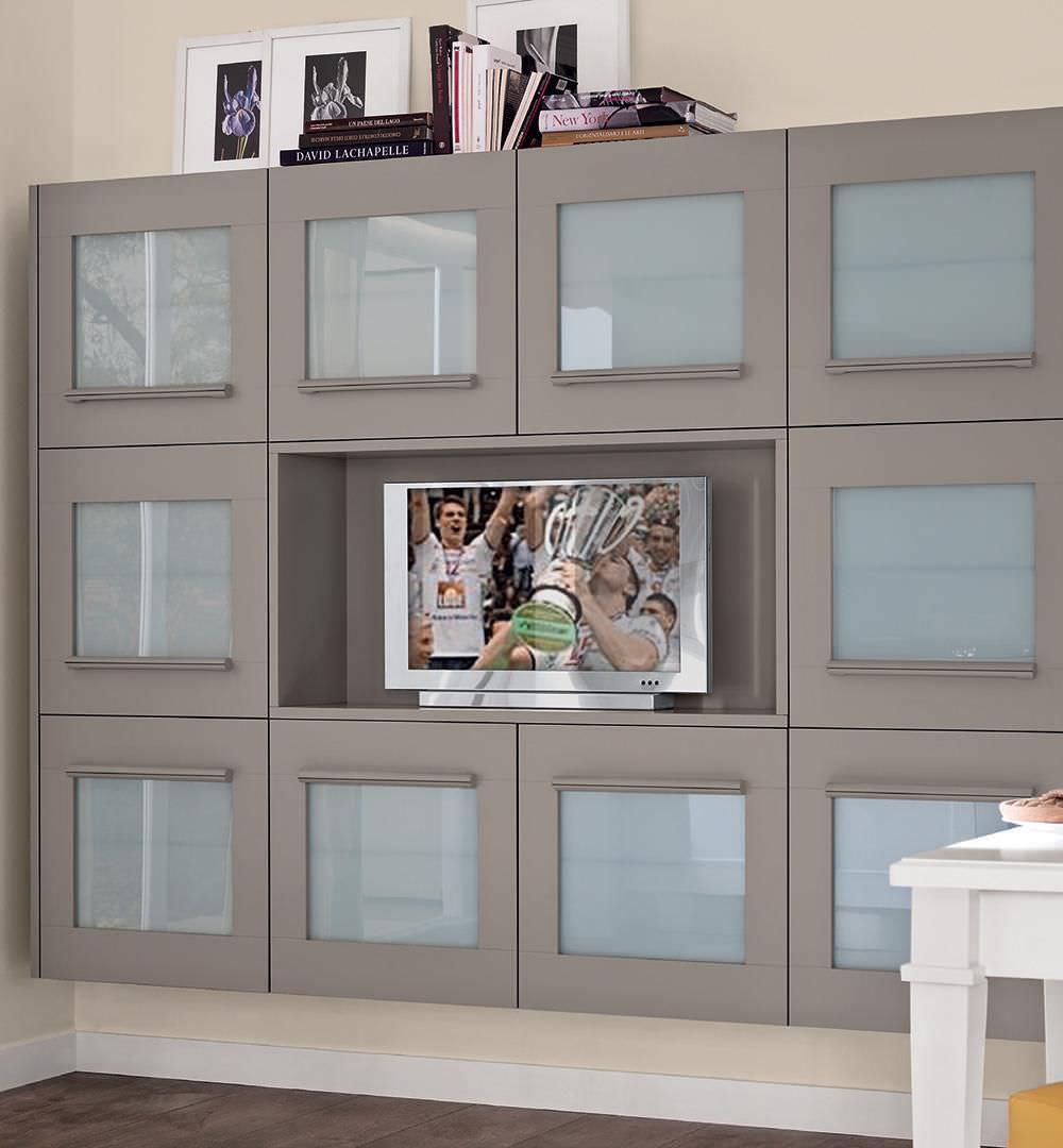 Mobile porta TV moderno / in legno - GALLERY - CUCINE LUBE - Video