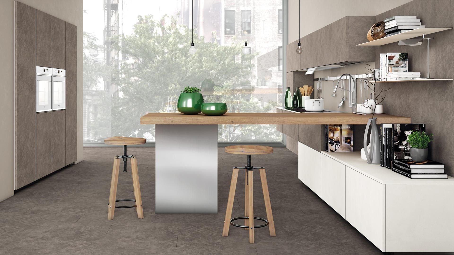 Cucina moderna / in legno / in alluminio / senza maniglie - OLTRE ...