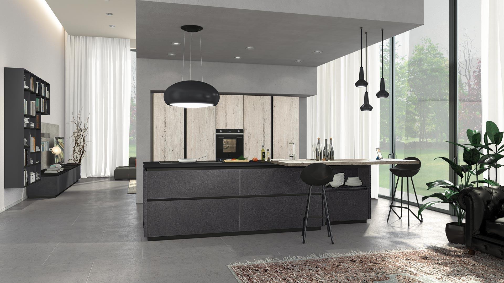 Cucina moderna / in legno / in alluminio / con isola - OLTRE ...