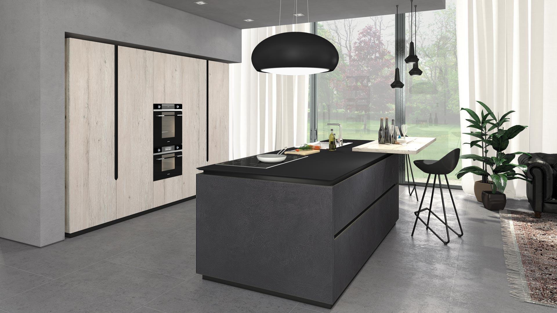 Cucina moderna / in legno / con isola / opaca - OLTRE - CUCINE LUBE