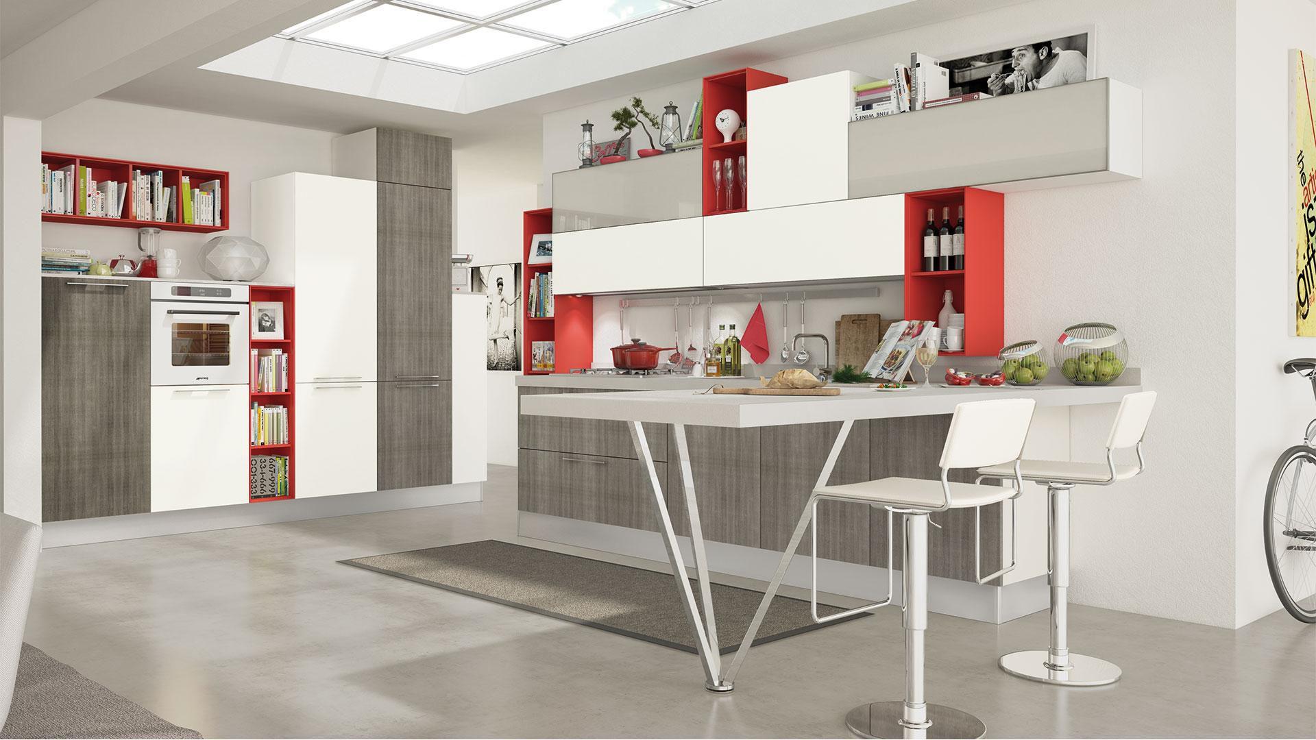 Cucina moderna / impiallacciata in legno / laccata - NOEMI ...