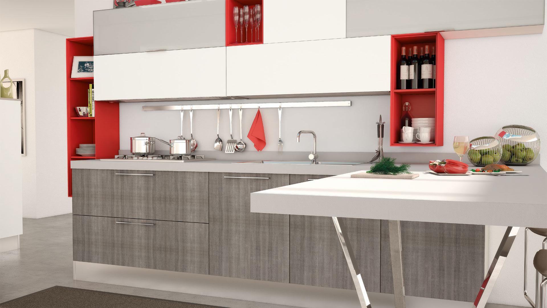 Cucina moderna / impiallacciata in legno / laccata - NOEMI - CUCINE LUBE