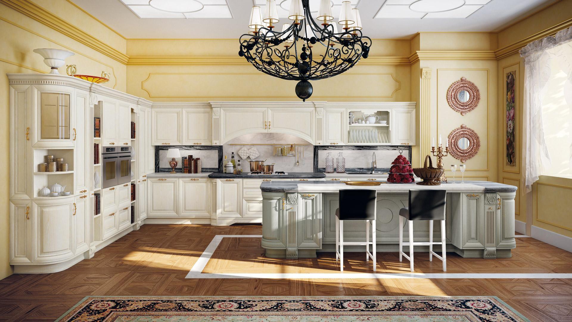 Cucina classica / in legno / con isola / con impugnature - PANTHEON ...