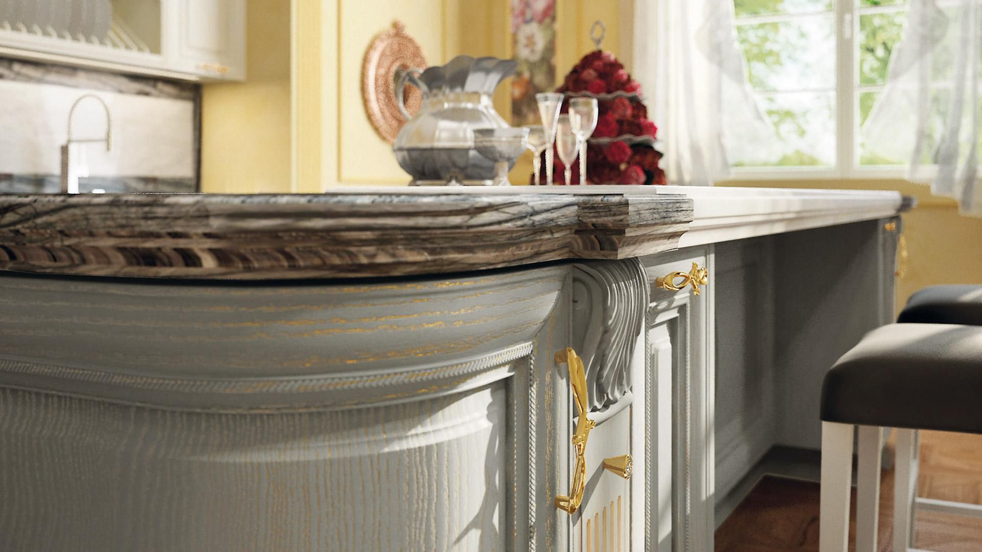 Cucina classica / in legno / con isola - PANTHEON - CUCINE LUBE