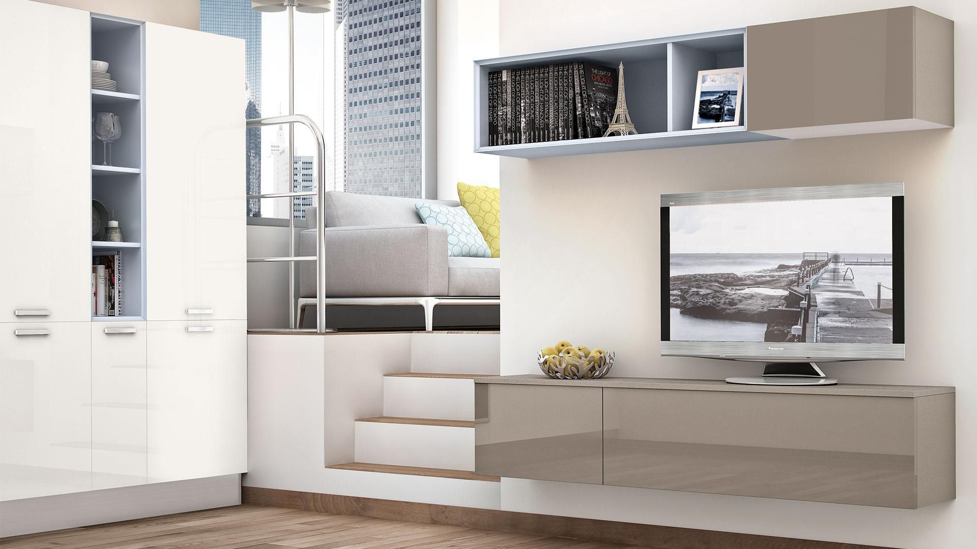 Parete attrezzata TV moderno / in legno laccato - NOEMI - CUCINE LUBE