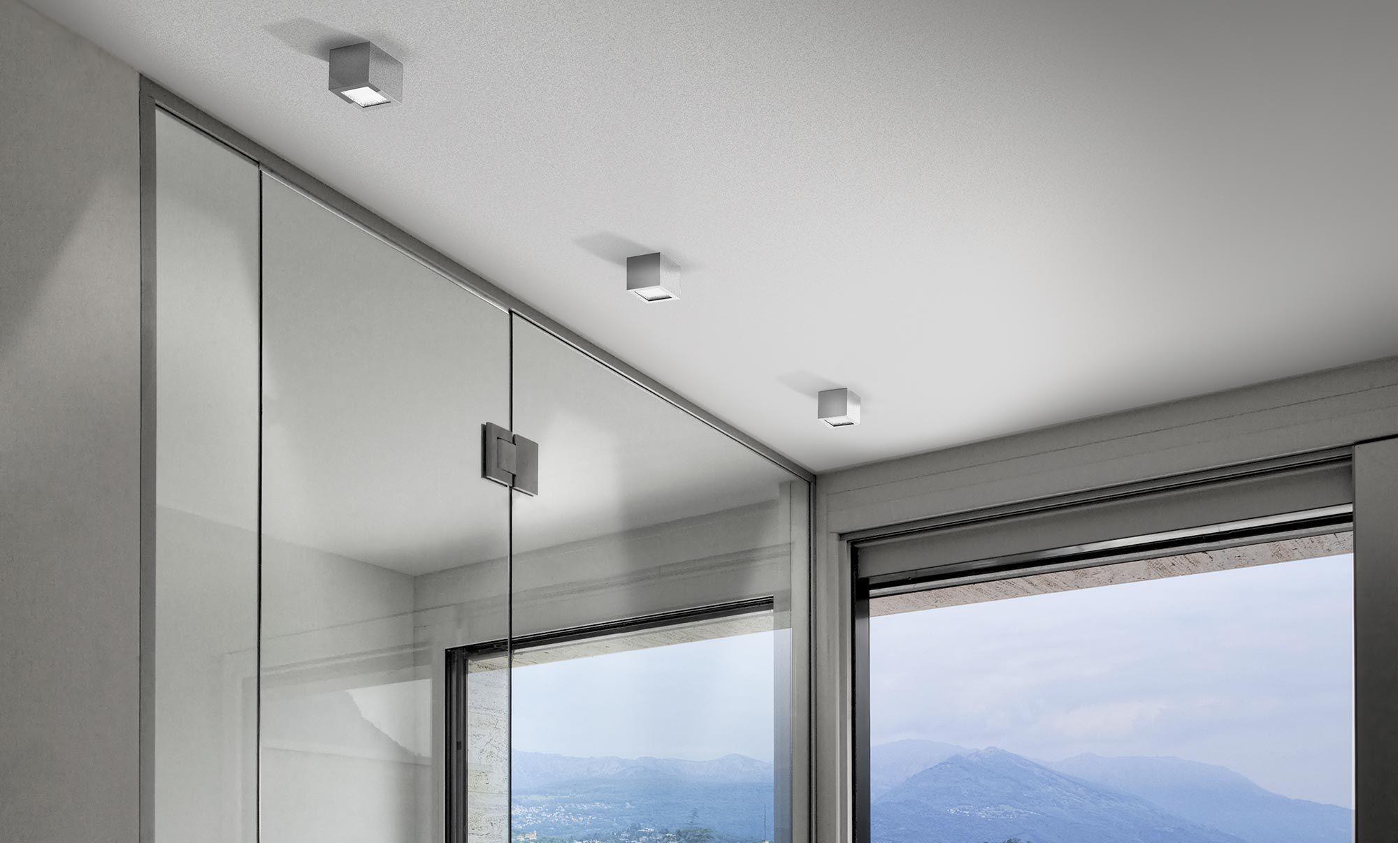 Plafoniera Quadrata Vetro : Plafoniera moderna quadrata in vetro alluminio three
