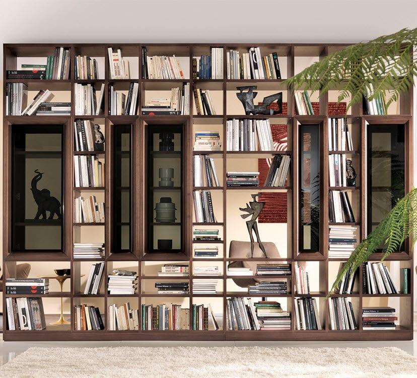 Libreria In Legno Noce.Libreria Moderna In Legno Laccato In Noce Concerto Besana