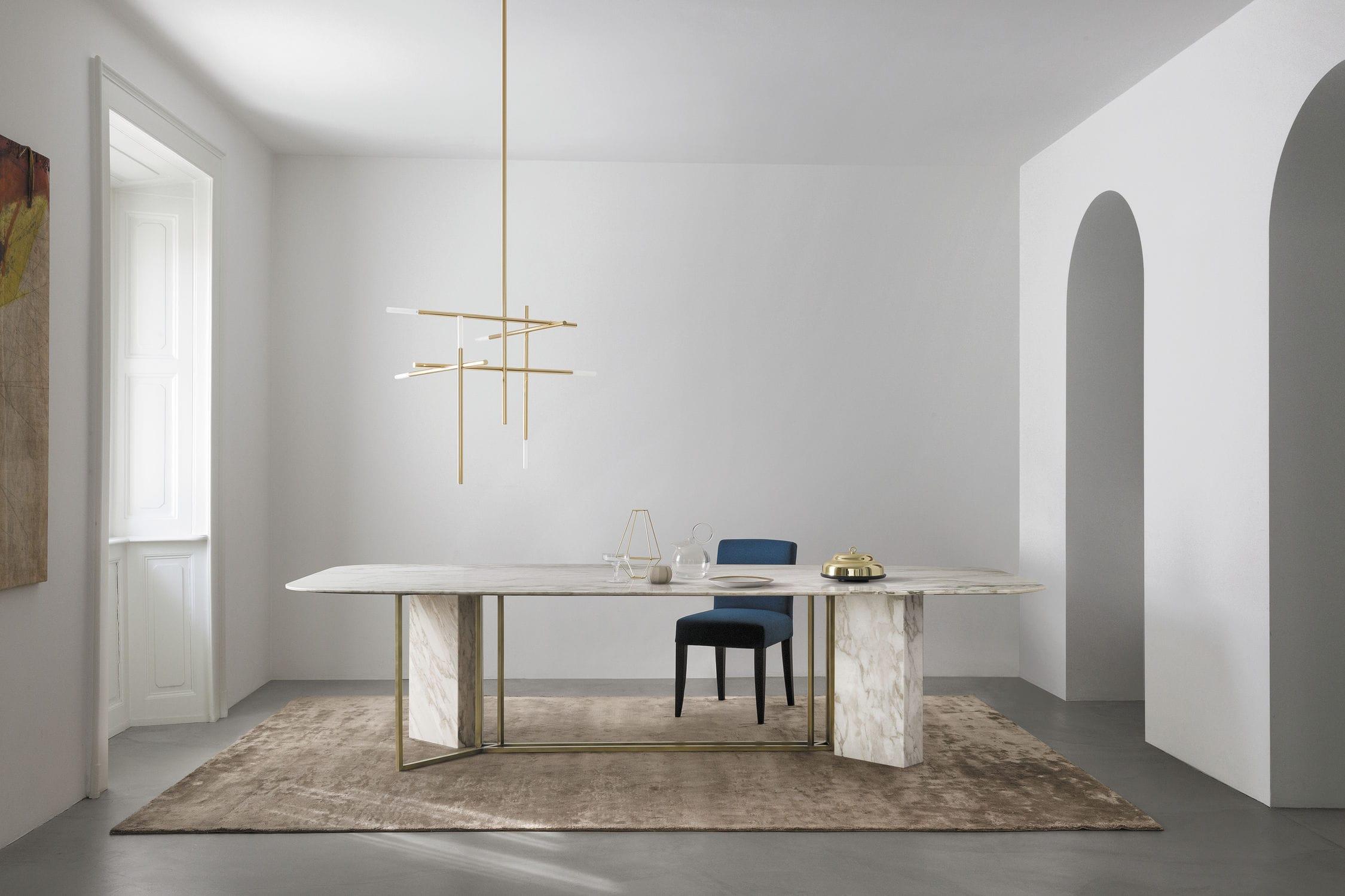 Tavolo da pranzo moderno in marmo in ottone rettangolare