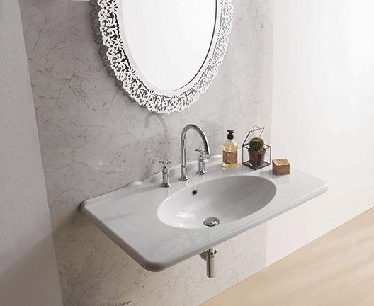 Vasca Da Bagno Globo Paestum : Lavabo sospeso rettangolare in ceramica moderno pa023