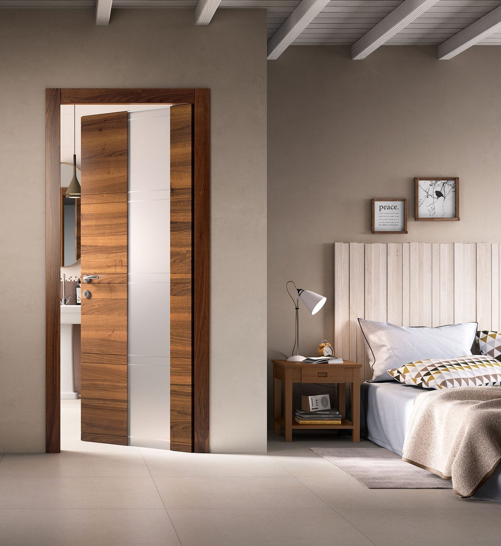 Porta da interni / battente / in legno / semivetrata - INTAGLIO ...