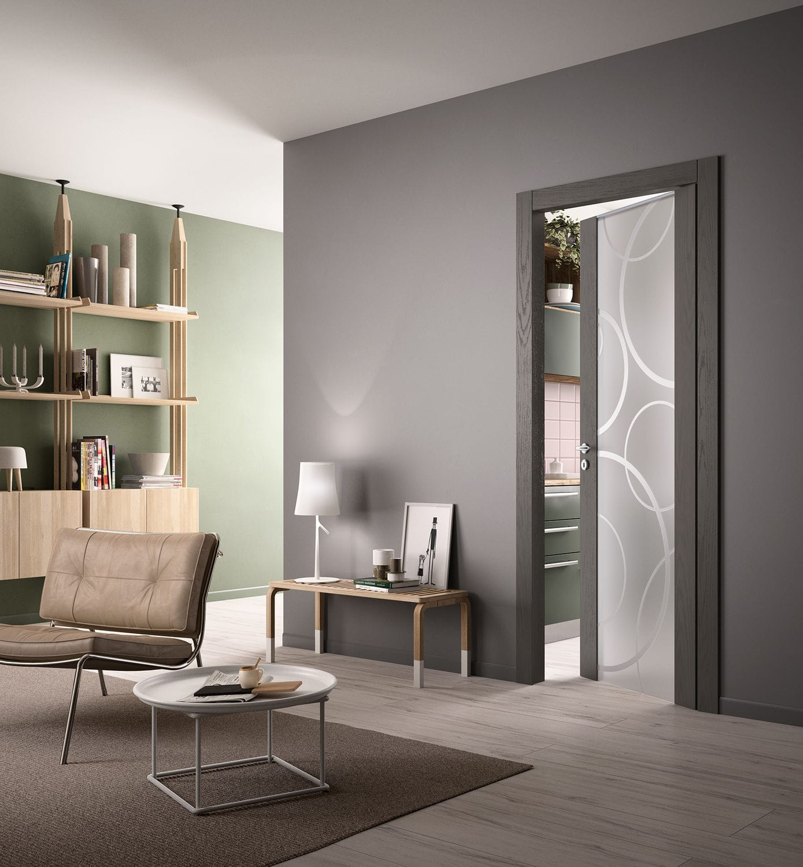 Porta da interni / battente / in legno / vetrata - GLASS - FerreroLegno