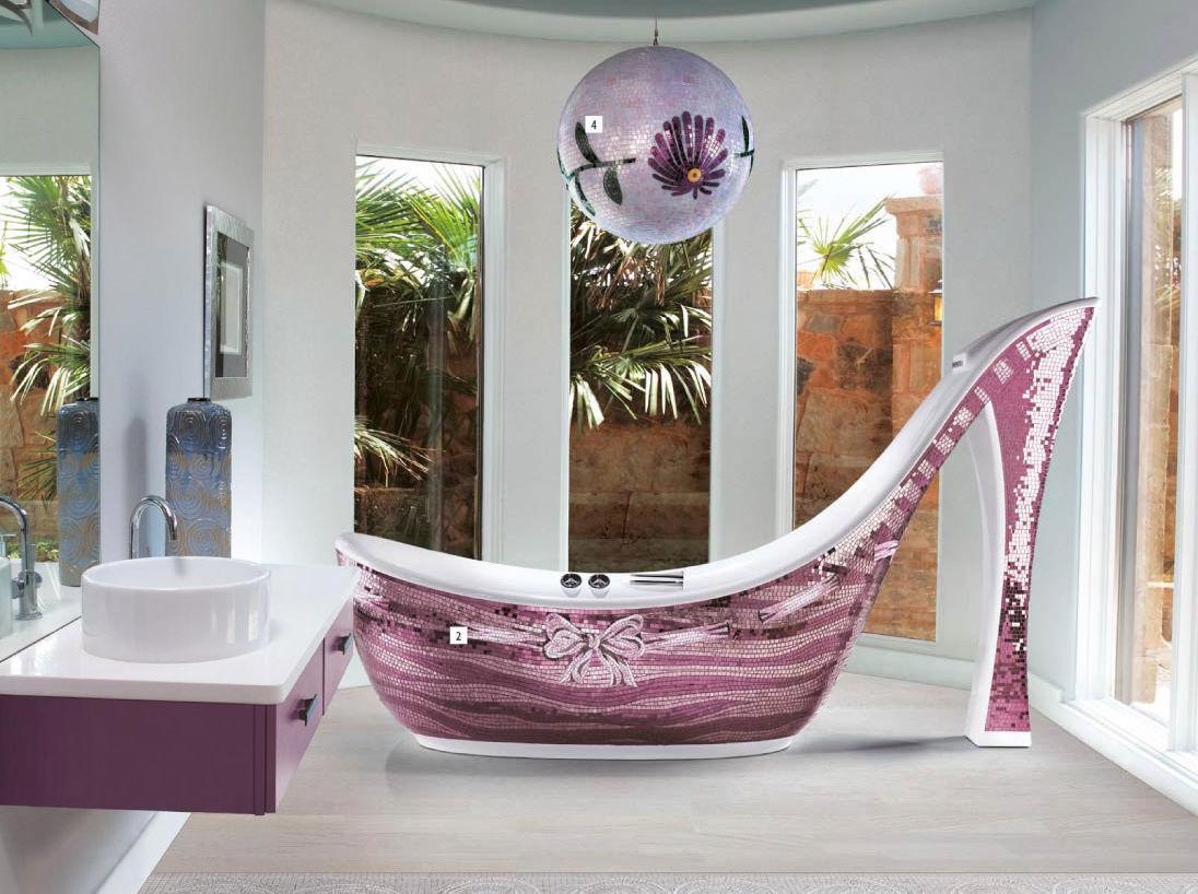 Rivestimento vasca da bagno in vetro in con piastrelle a mosaico