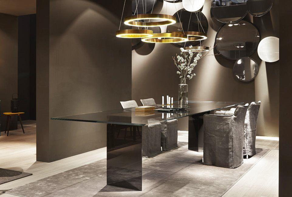 Tavolo da riunione moderno / in legno / in vetro / rettangolare ...