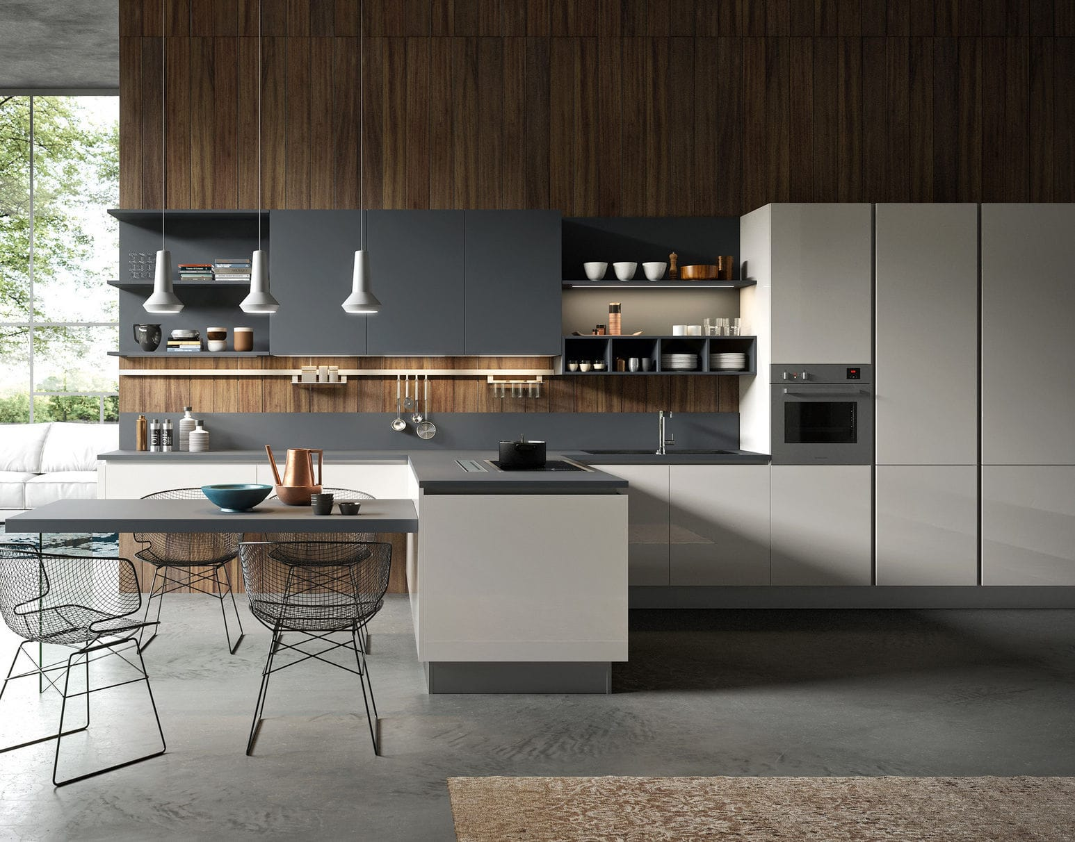 Cucina moderna / in legno laccato / opaca / senza maniglie - URBAN ...