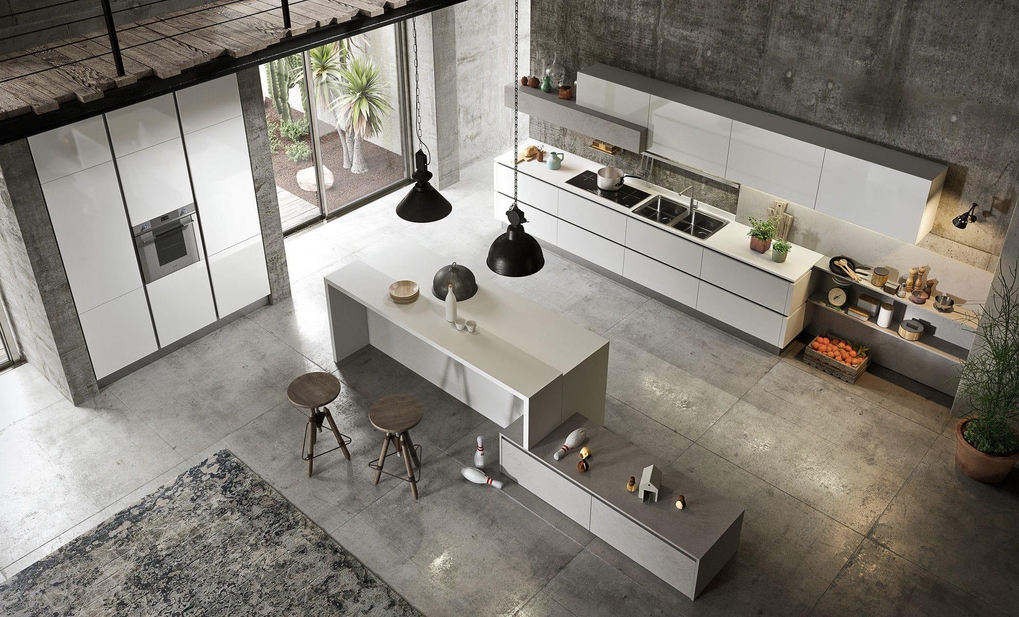 Cucina moderna / in legno laccato / con isola / lucida - URBAN 2.0 ...