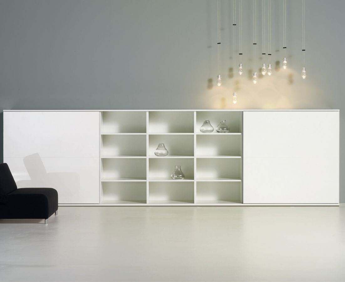 Credenza moderna / in legno laccato / in vetro / bianca - STUDIMO by ...