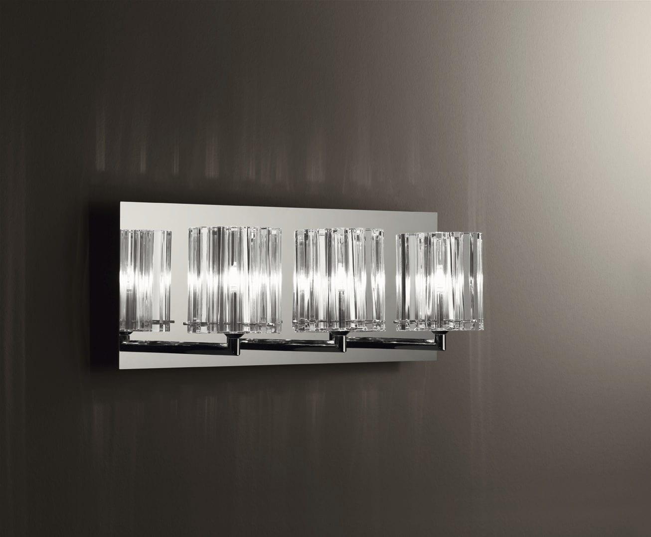 Applique moderna in metallo cromato in vetro alogena