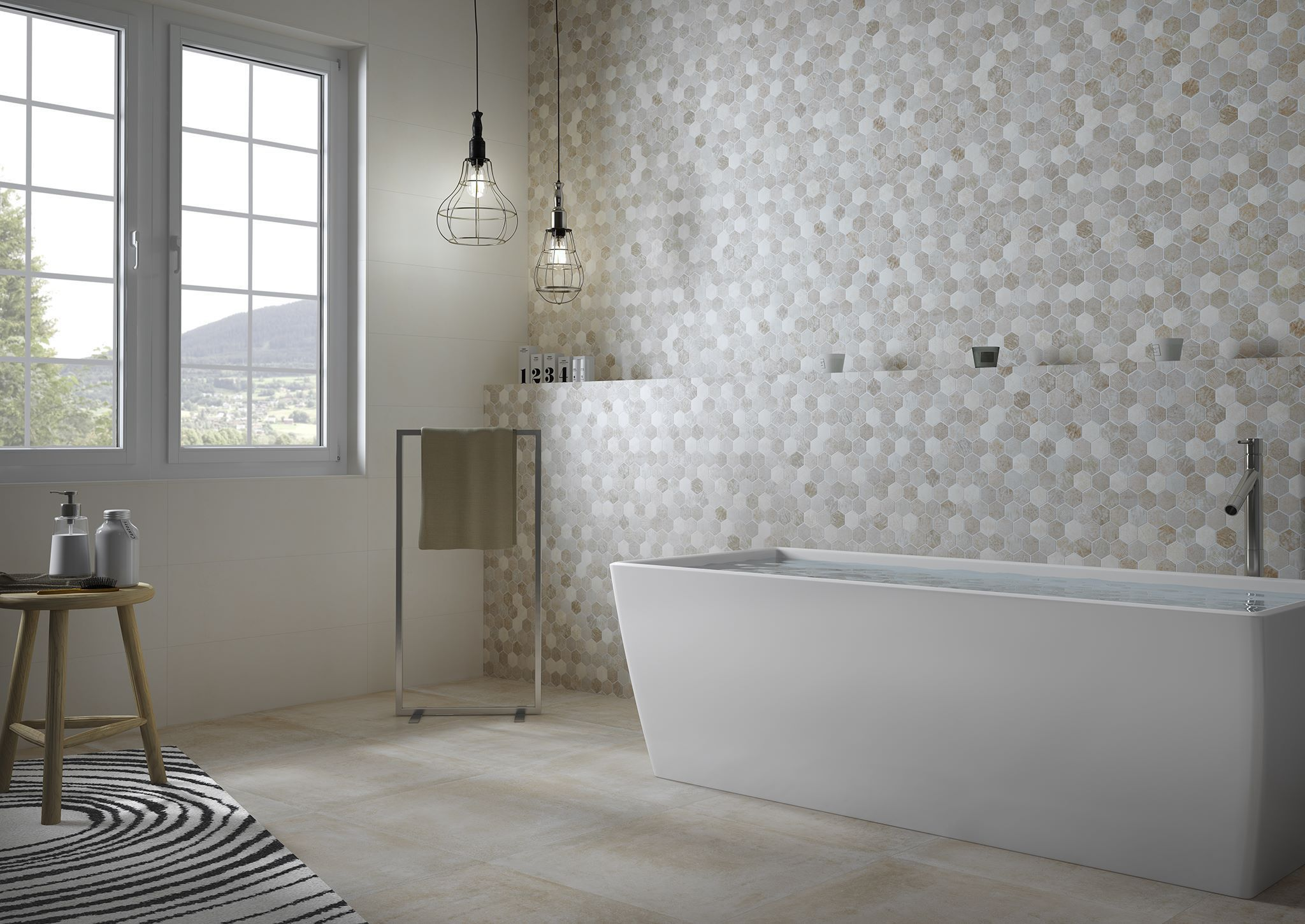Piastrelle Esagonali Per Bagno : Piastrella da bagno da parete in ceramica esagonale